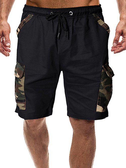 Camouflage Print Flap Pocket Casual Shorts - BLACK L