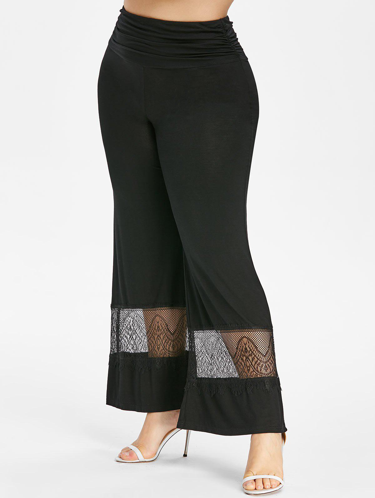 Plus Size High Waisted Lace Insert Wide Leg Pants - BLACK 5X