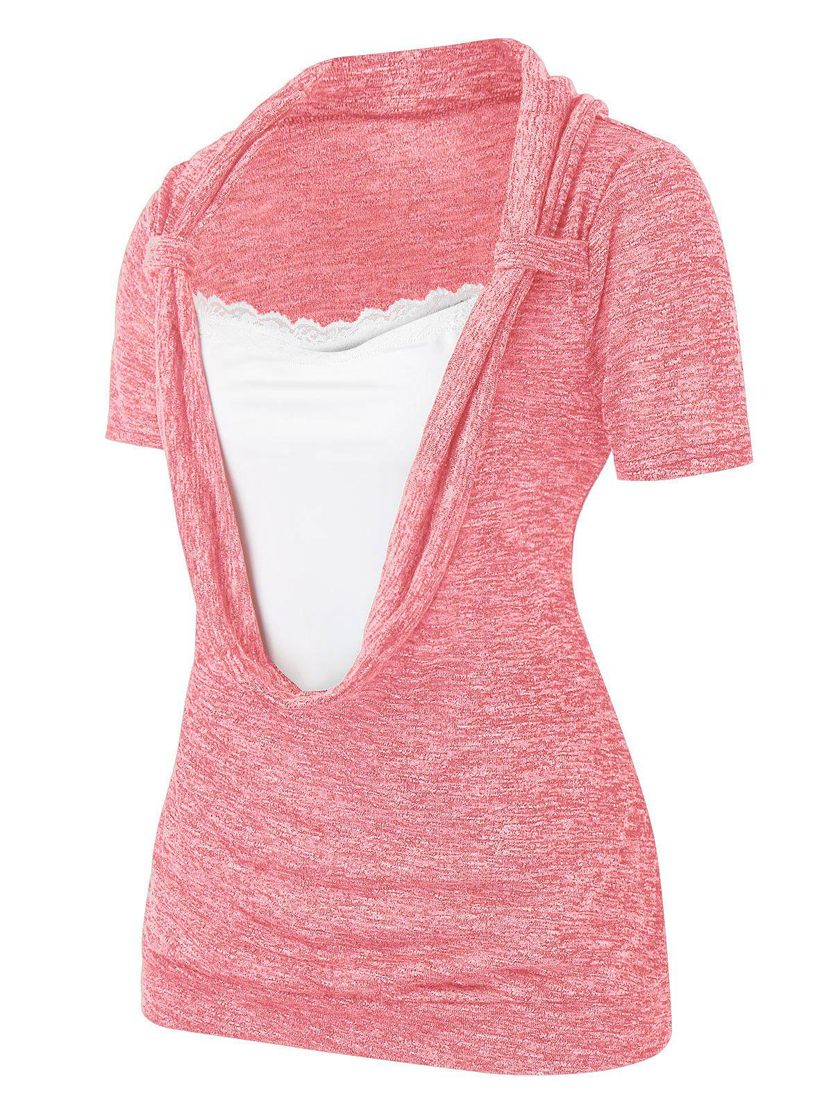 Plus Size Lace Splicing Cowl Front Marled T Shirt - PIG PINK 1X