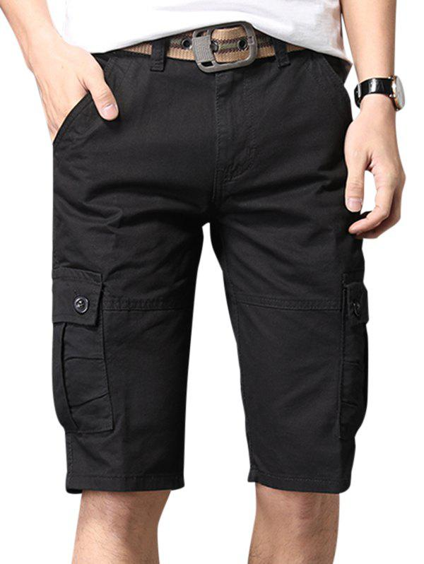 Pure Color Zip Fly Fifth Cargo Shorts - BLACK 34