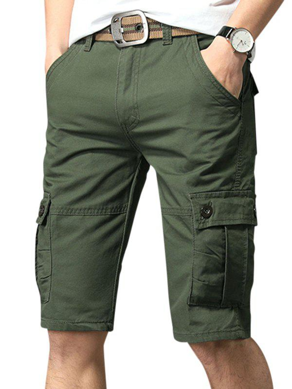 Pure Color Zip Fly Fifth Cargo Shorts - ARMY GREEN 32