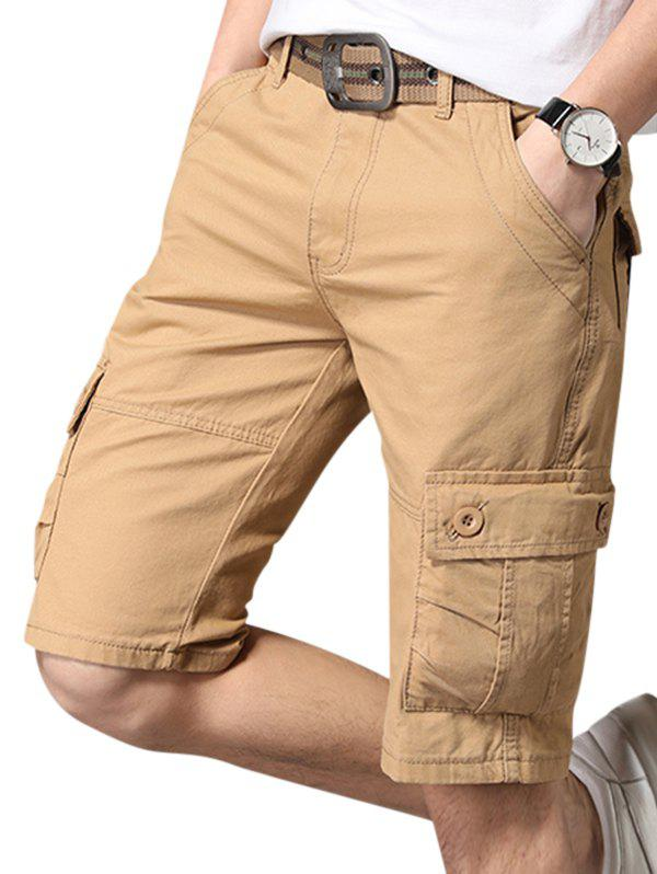 Pure Color Zip Fly Fifth Cargo Shorts - KHAKI 32