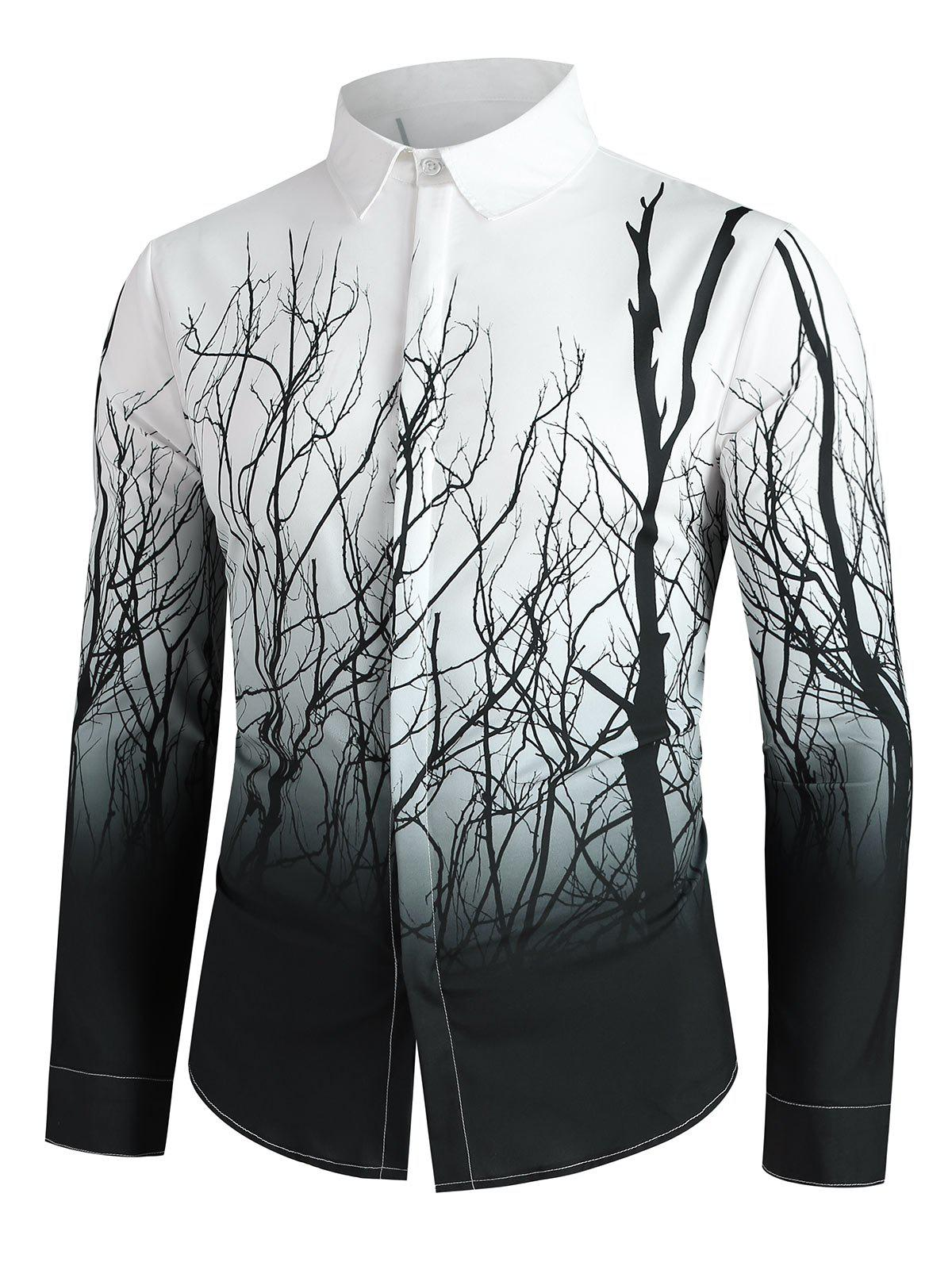 Tree Branch Print Button Up Long Sleeve Shirt - BLACK M