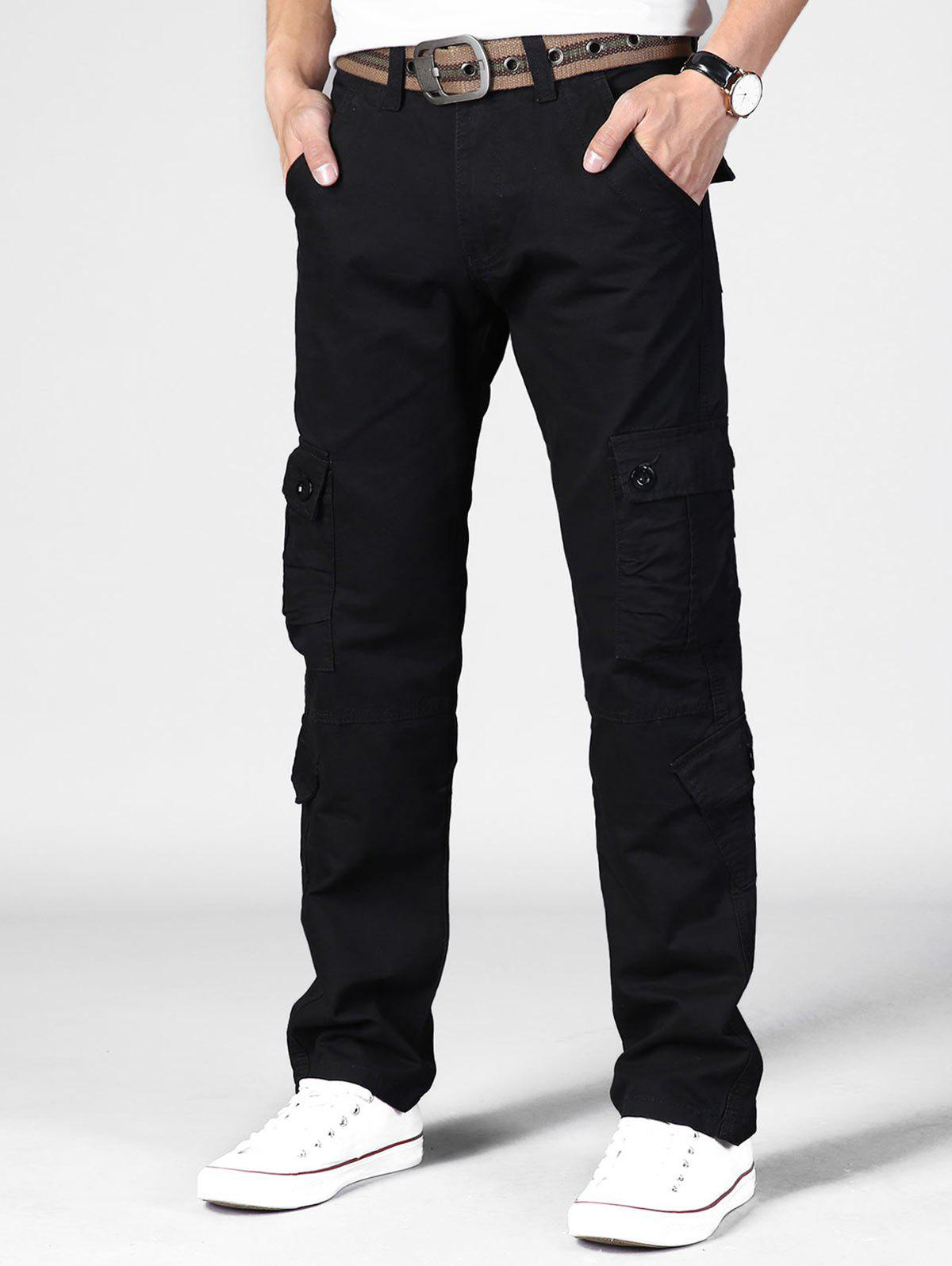 Plain Multi Flap Pockets Cargo Straight Pants - BLACK 40