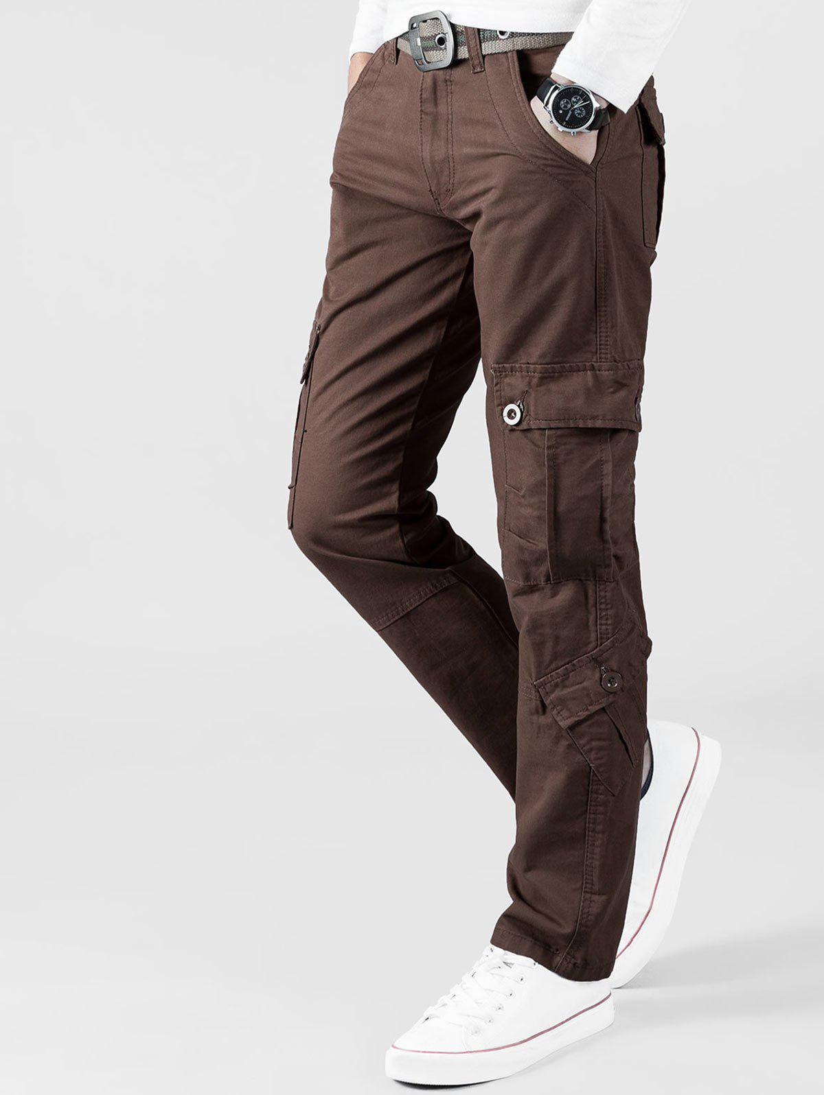 Plain Multi Flap Pockets Cargo Straight Pants - COFFEE 34