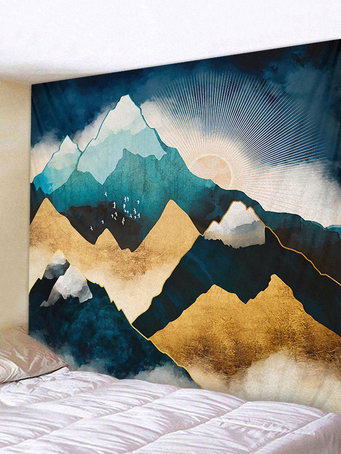 Sunset Snow Mountain Printing Wall Tapestry - PEACOCK BLUE W91 X L71 INCH