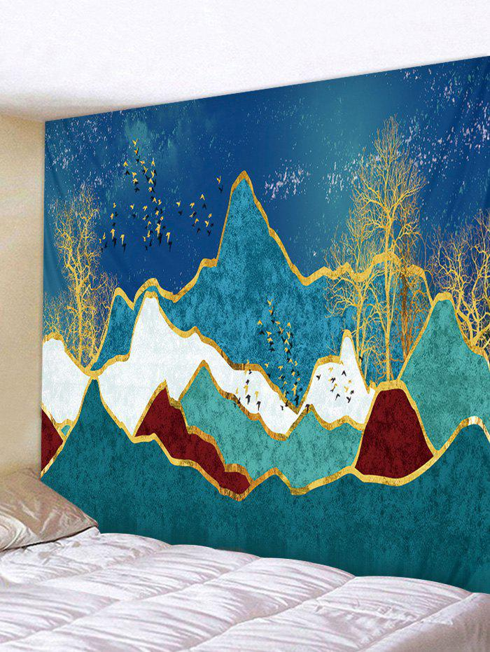 Mountain Tree Birds Printed Wall Tapestry - BLUE IVY W79 X L59 INCH
