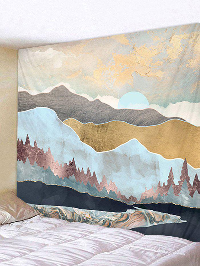 Japanese Style Mountain Printing Tapestry - SEA BLUE W91 X L71 INCH