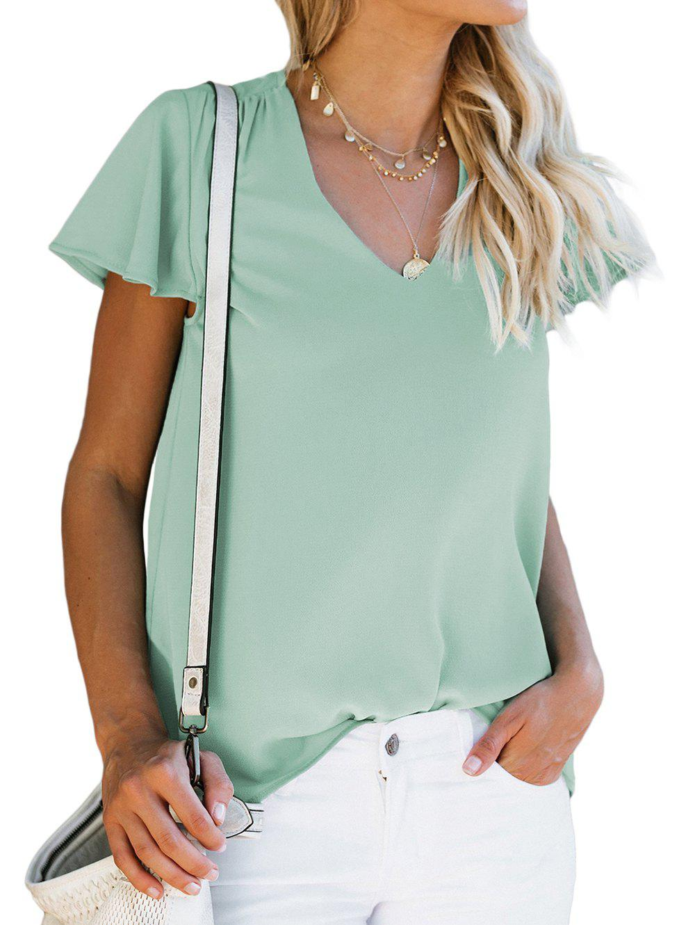 V Neck Flutter Sleeve Plain Blouse - MEDIUM TURQUOISE M