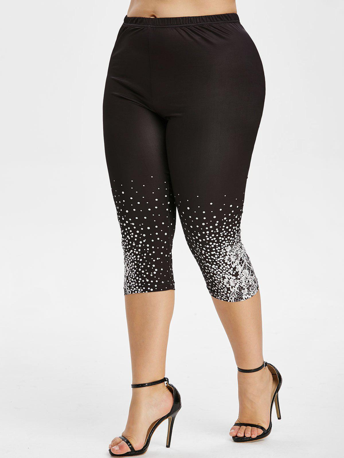 Floral Dots High Waisted Plus Size Capri Leggings - BLACK 4X