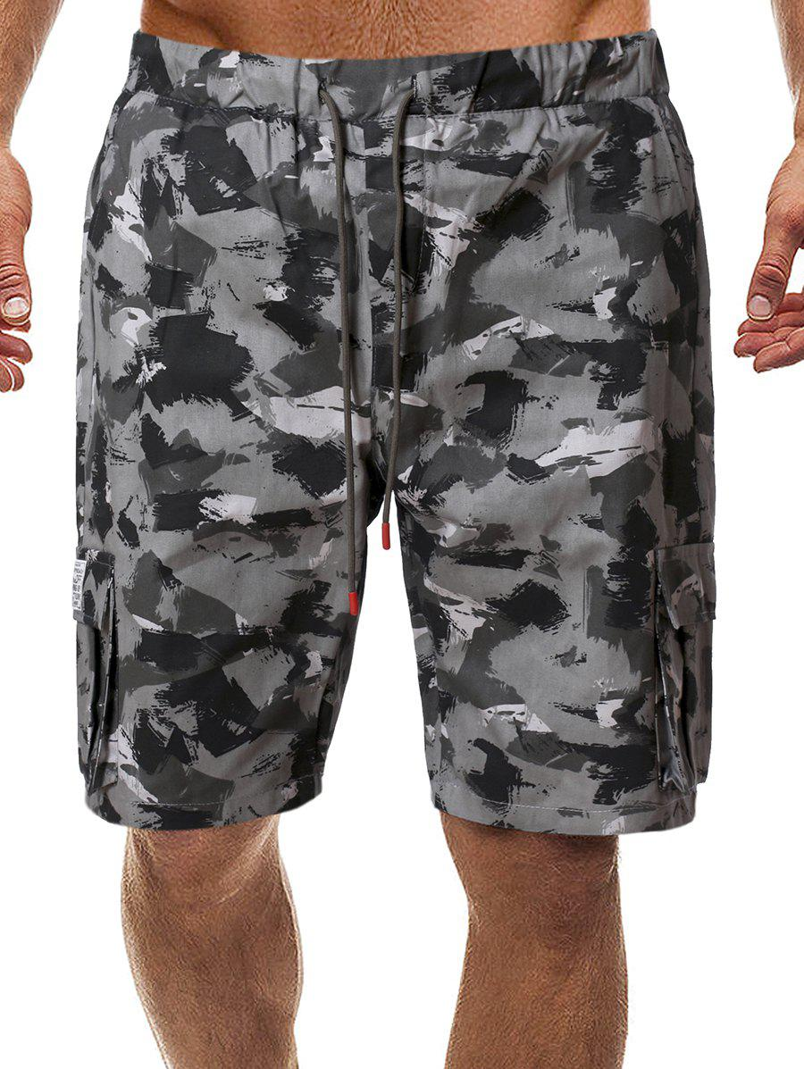 Camo Drawstring Shorts with Pockets - ACU CAMOUFLAGE 2XL