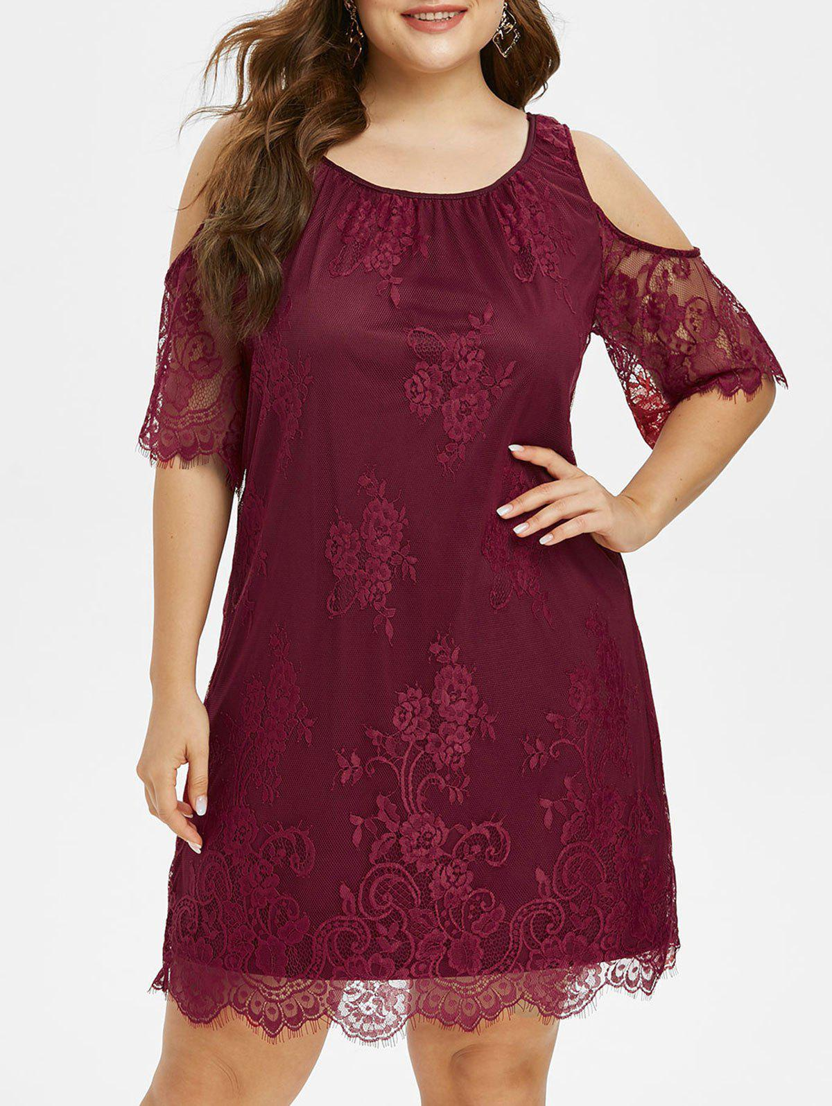 Plus Size Cold Shoulder Dress with Eyelash Lace - RED WINE L