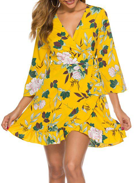 Floral Leaf Ruffle Wrap Dress
