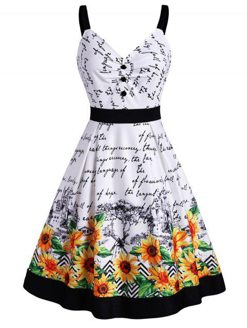 Sunflower Letter Graphic Mock Button Ruched Dress