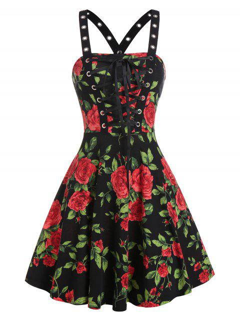 Rose Flower Lace Up A Line Dress