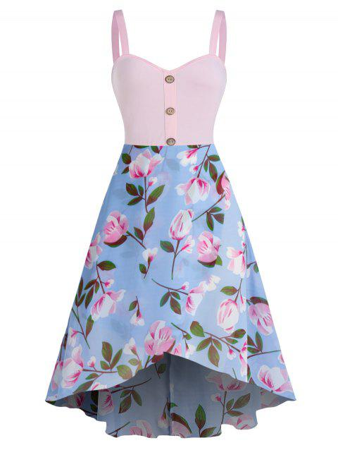 Flower Print Sleeveless High Low Chiffon Dress
