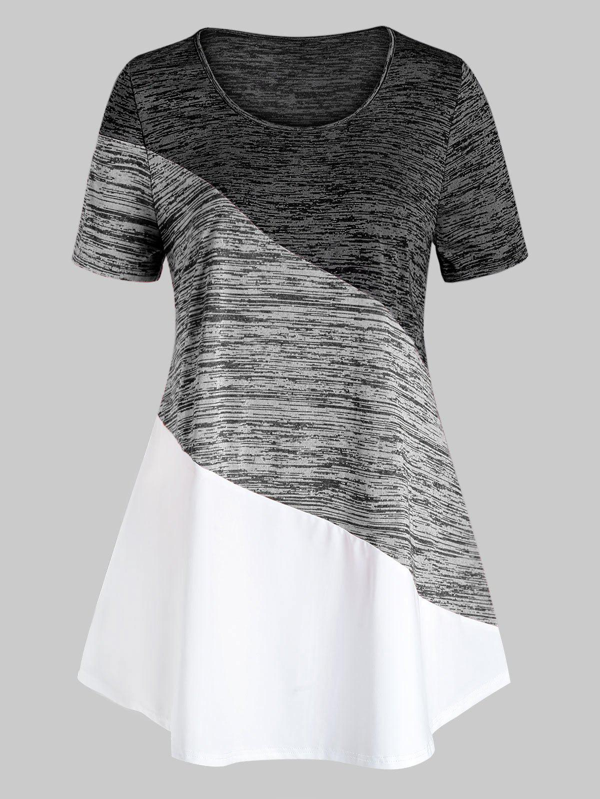 Plus Size Colorblock Marled T Shirt - LIGHT GRAY 2X