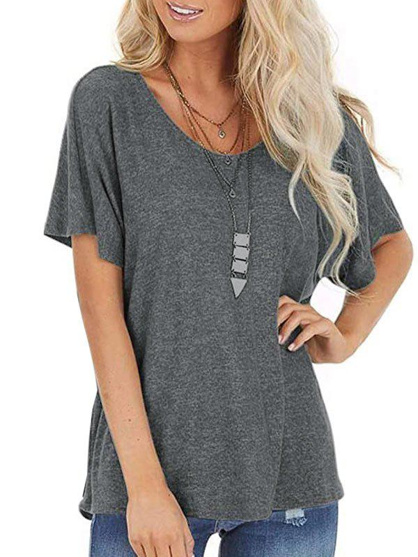 Bar Back Twisted Batwing Sleeve T-shirt - GRAY XL