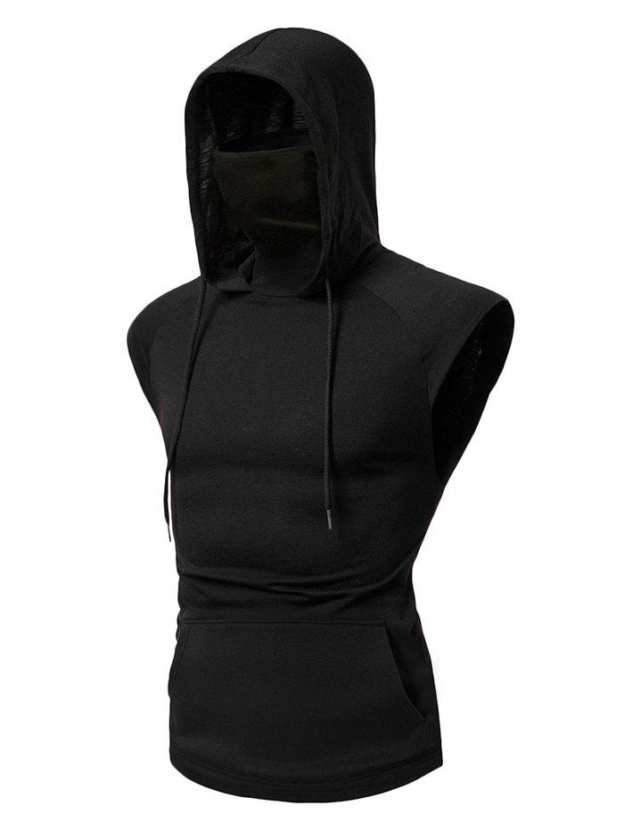 Bandana Mask Front Pocket Hooded Drawstring Tank Top - BLACK M