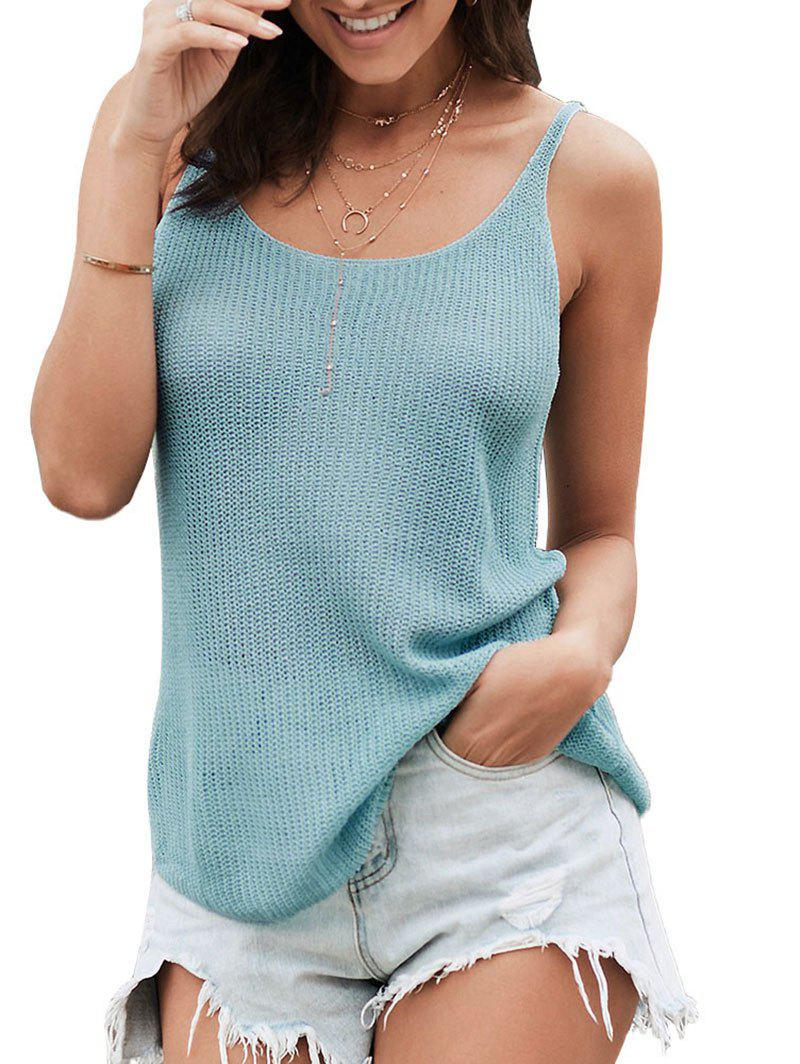 Casual Knitted Tank Top - LIGHT BLUE L