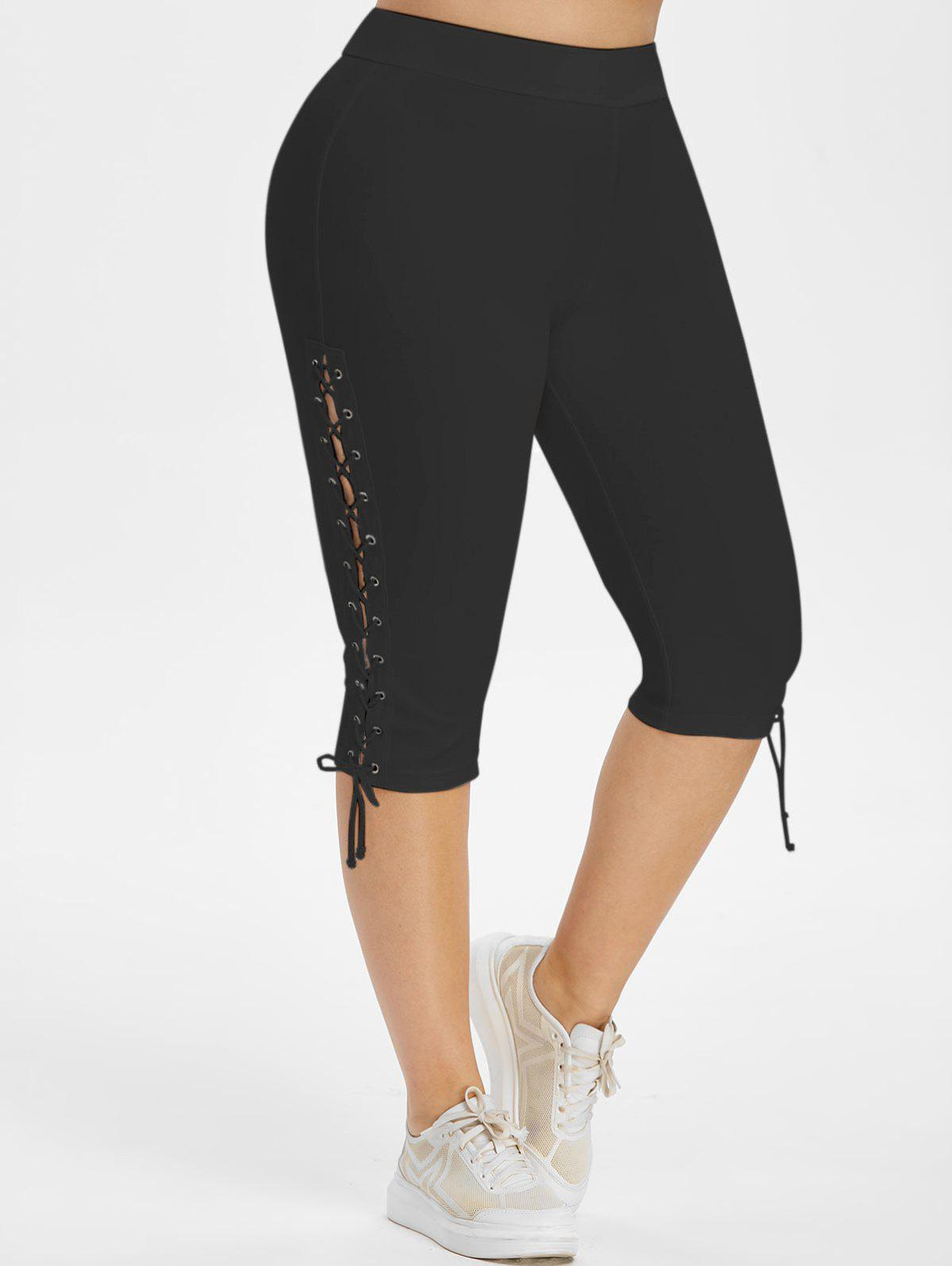 Lace Up Side High Waisted Plus Size Capri Pants - BLACK 4X
