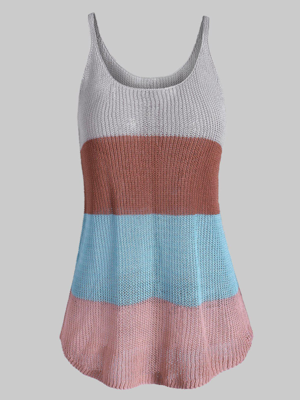 Colorblock Stripes Knitted Plus Size Tank Top - multicolor L