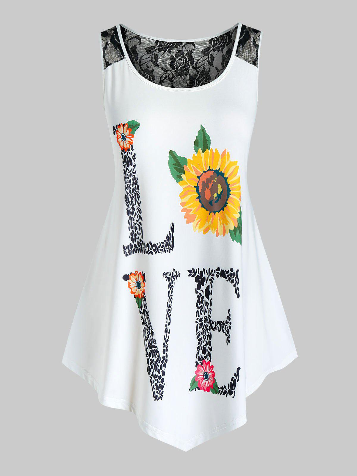 Plus Size Lace Panel Sunflower Print Tank Top - WHITE 2X