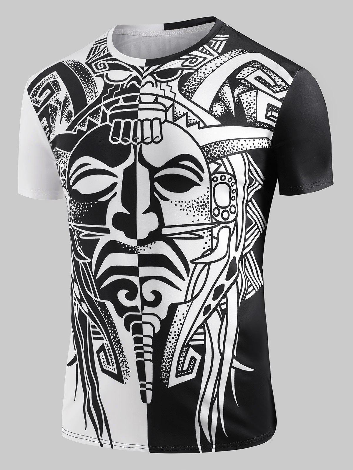 Ying and Yang Aztec Totem Graphic T-shirt - BLACK XL