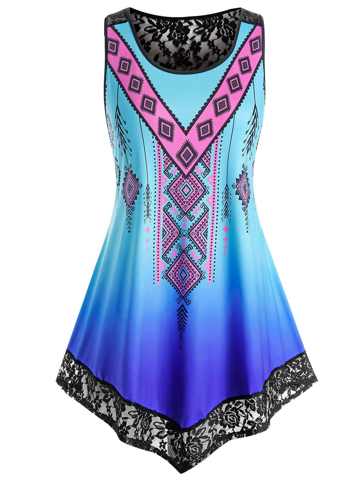 Plus Size Aztec Print Lace Insert Ombre Color Tank Top - BLUE 2X