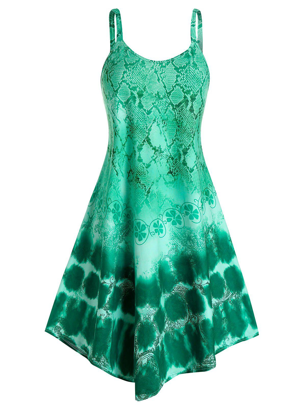 Plus Size Snake Print High Low Tank Top - SEA GREEN 3X
