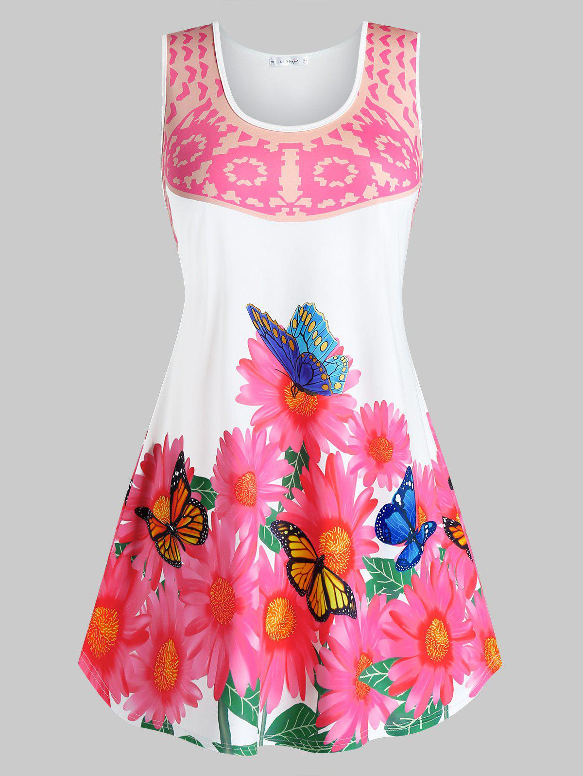 Plus Size Butterfly Flower Print Tunic Tank Top - WHITE 1X