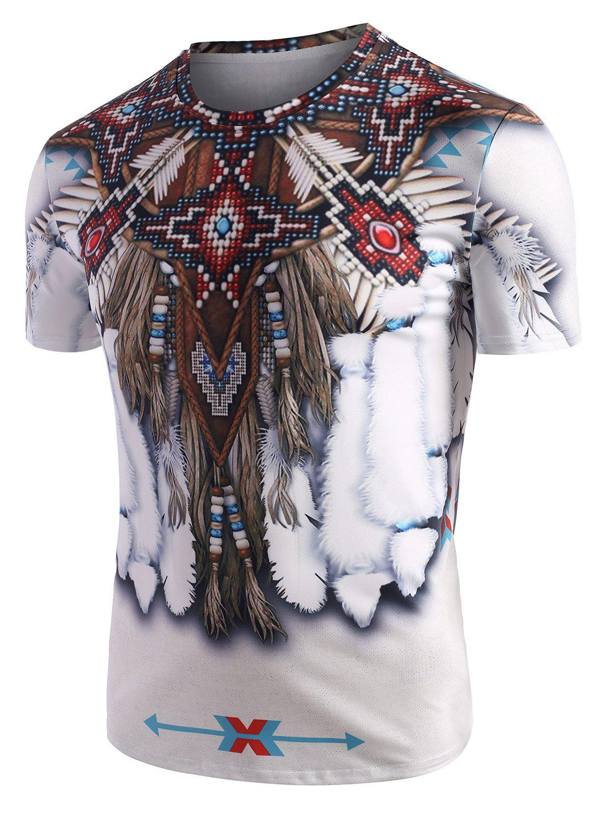 Tribal Indian Graphic Pattern Short Sleeve T Shirt - WHITE M