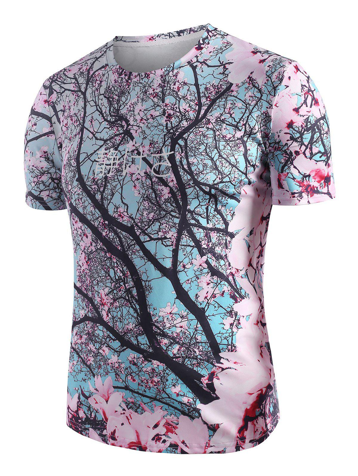 Sakura Floral 3D Print Vacation T-shirt - multicolor M