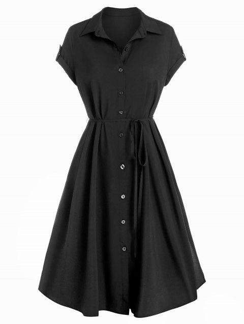 Buttons Self Tie Belted Shirt Dress