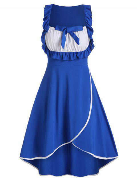 Ruffle Ruched High Waist Housemaid Dress