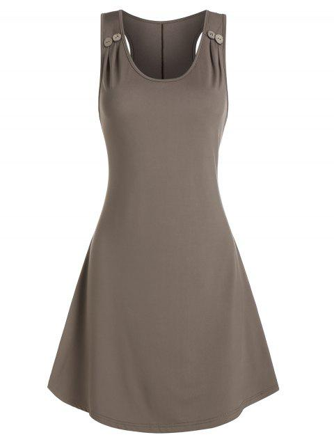 Plain Ruched Sleeveless Mini A Line Dress