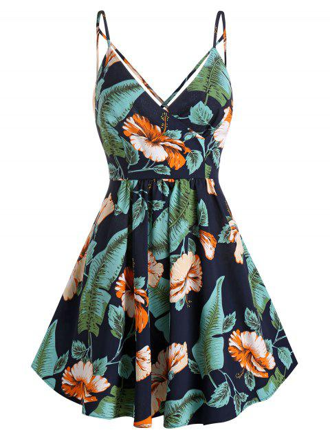 Palm Floral Print Wrap Spaghetti Strap Dress