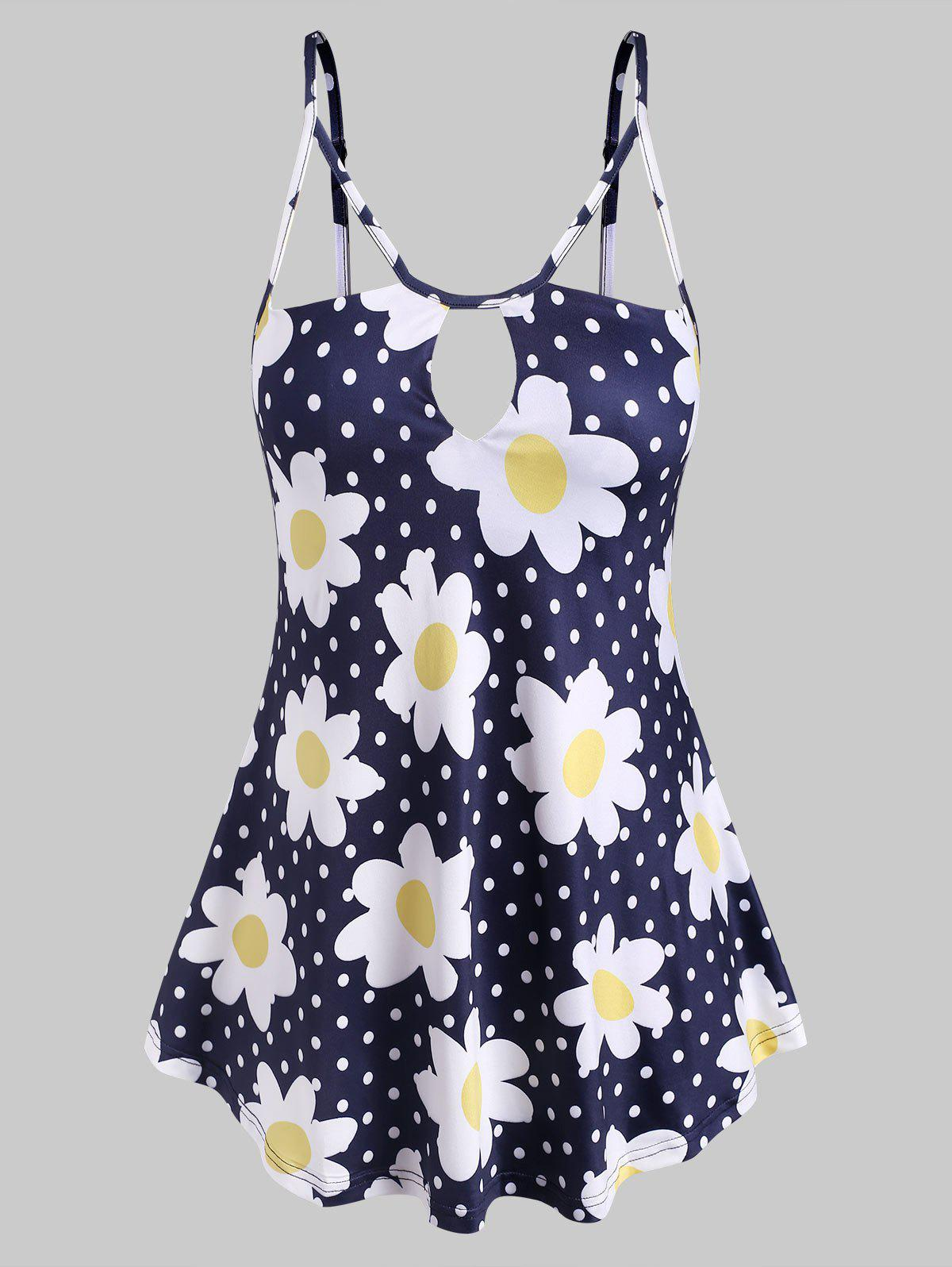 Daisy Dotted Keyhole Strappy Plus Size Cami Top - BLUE 3X