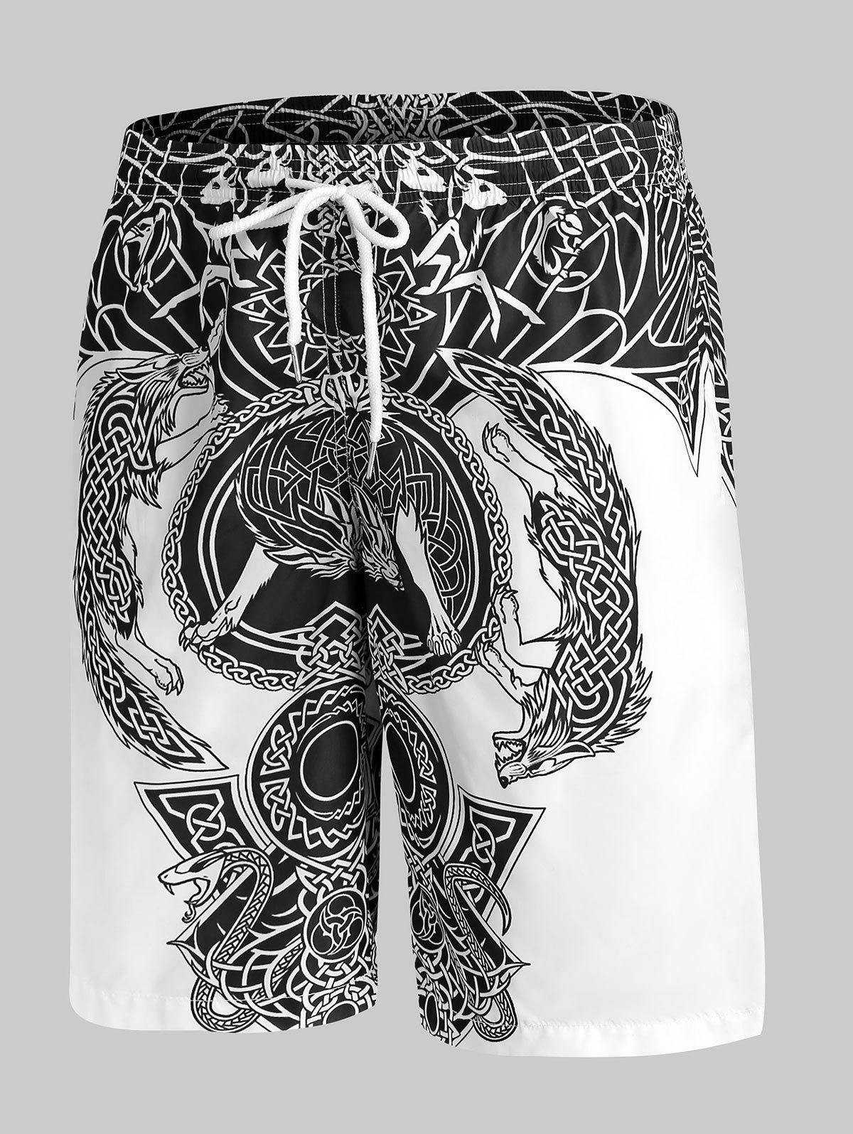 Totem Graphic Print Drawstring Shorts - WHITE L