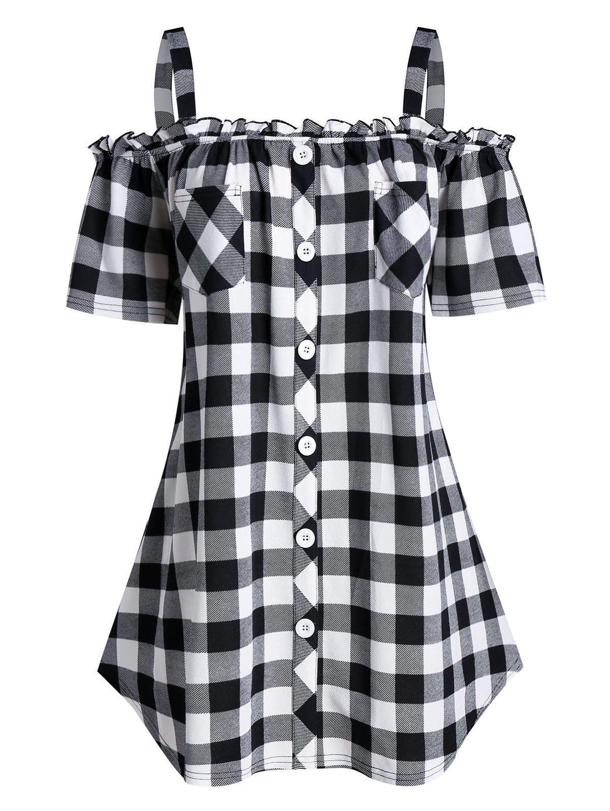 Plus Size Plaid Open Shoulder Frilled Tunic Tee - BLACK 5X