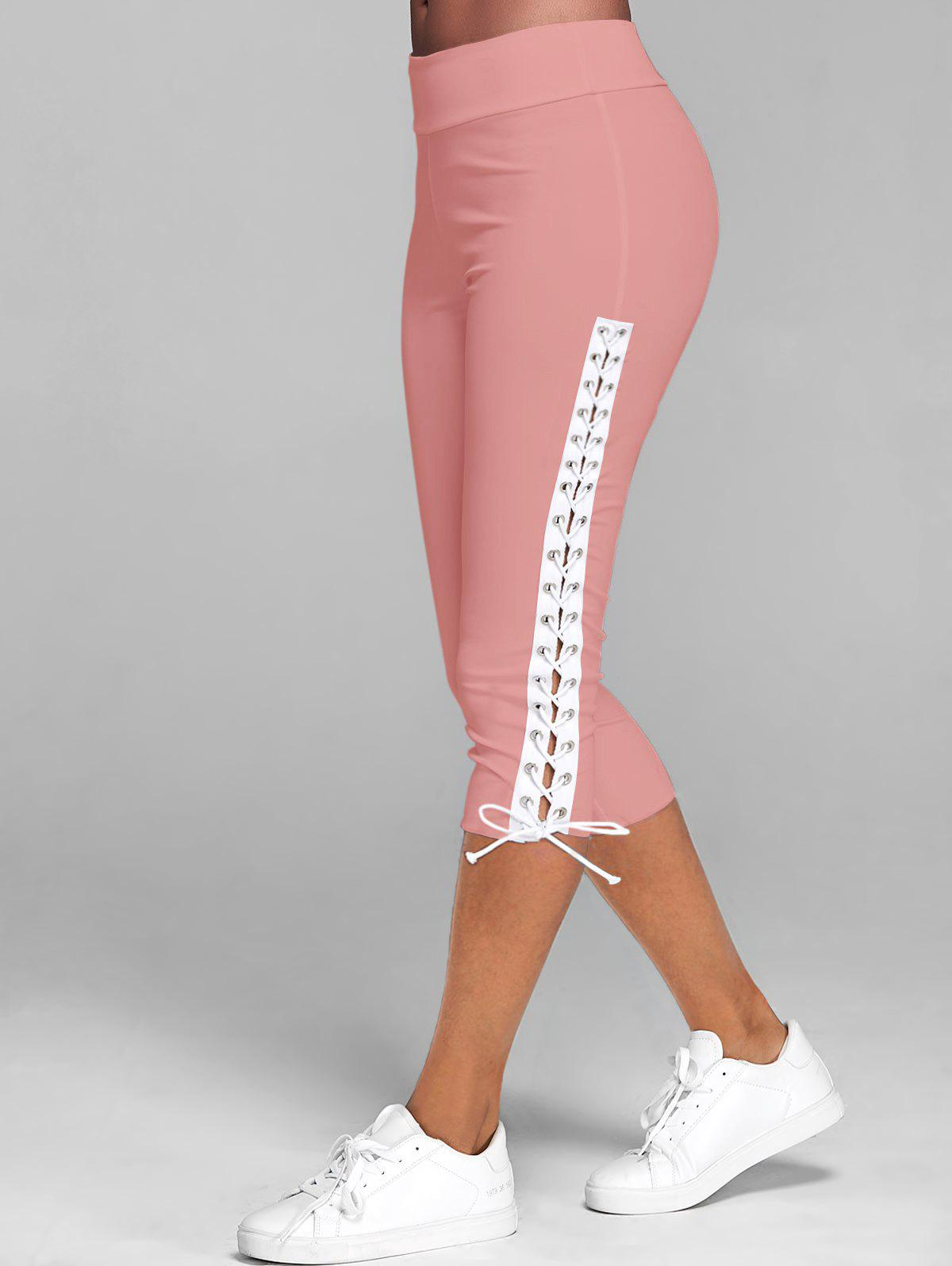 Lace Up Skinny Crop Leggings - LIGHT PINK XL
