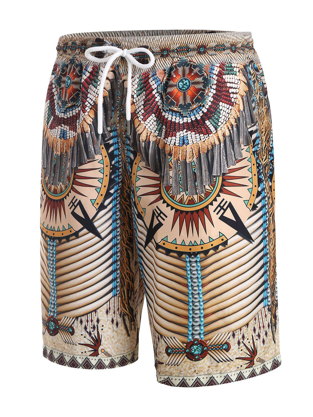 Tribal Indian Pattern 3D Print Shorts - WARM WHITE L