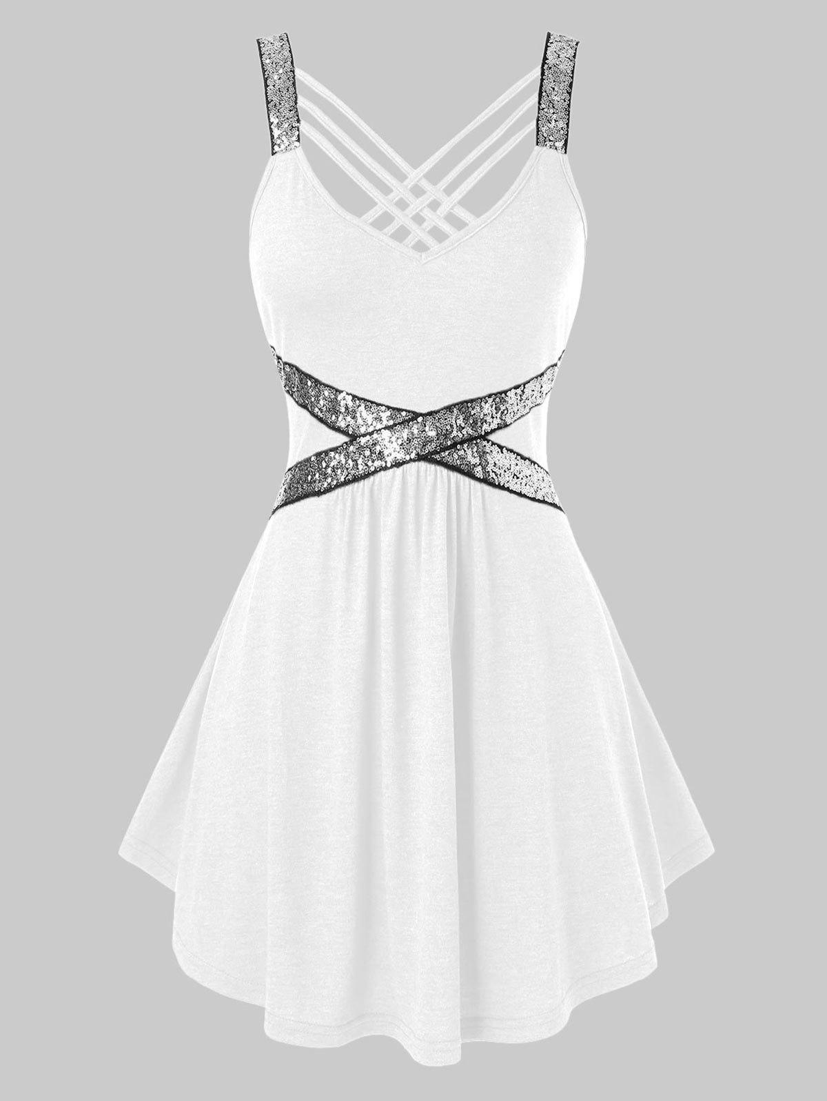 Plus Size Sequins Crisscross Tank Top - MILK WHITE 5X