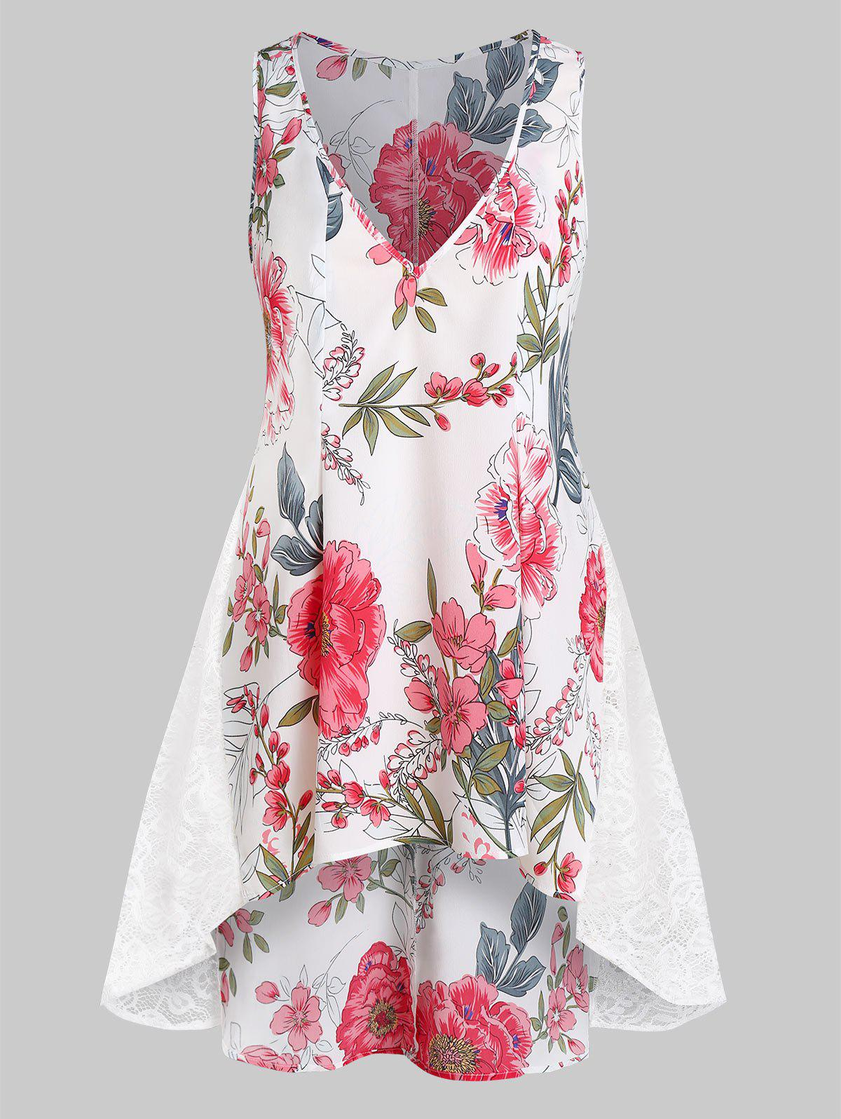 Plus Size Floral Printed V Neck Sleeveless Blouse - WHITE 5X