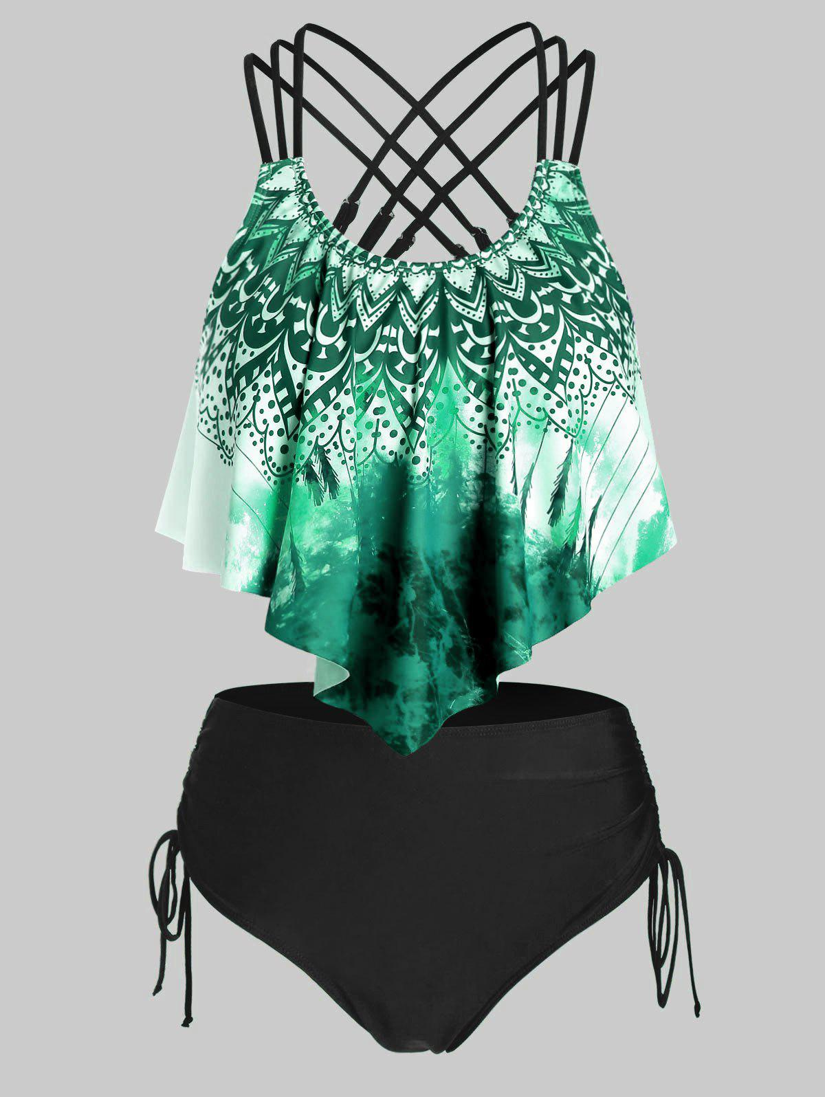 Plus Size Gradient Print Crisscross Tankini Swimwear - MEDIUM SEA GREEN L