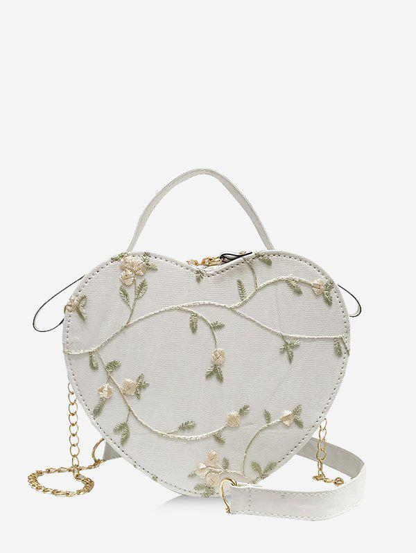 Heart Shape Embroidery Floral Crossbody Bag - WHITE