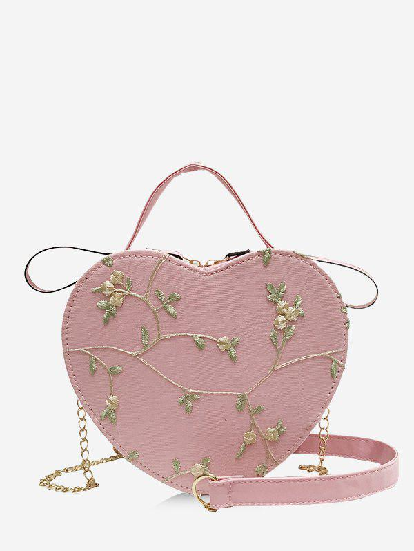 Heart Shape Embroidery Floral Crossbody Bag - PINK