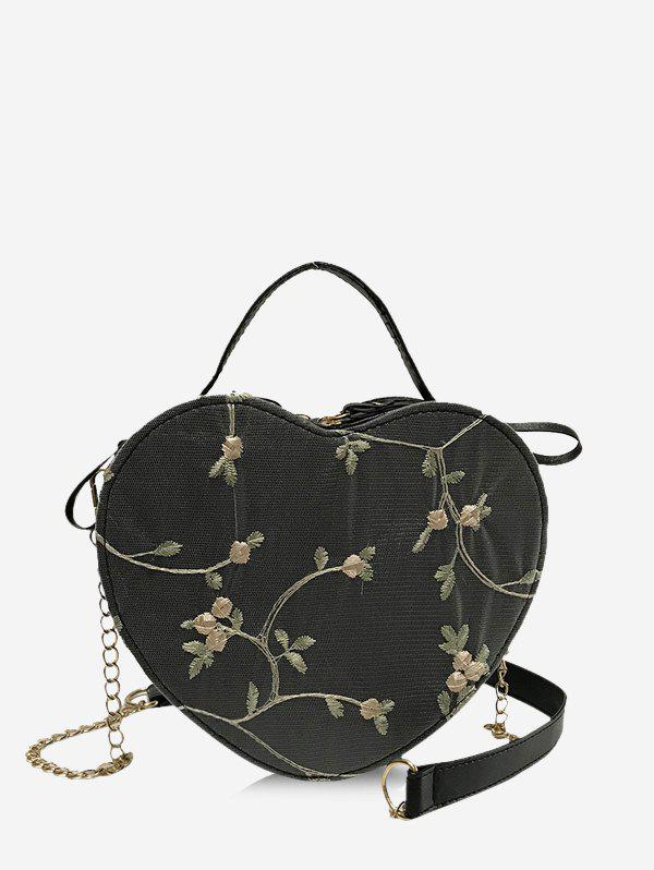 Heart Shape Embroidery Floral Crossbody Bag - BLACK