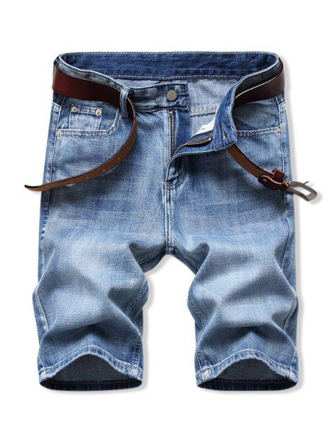 Solid Color Zipper Fly Denim Shorts