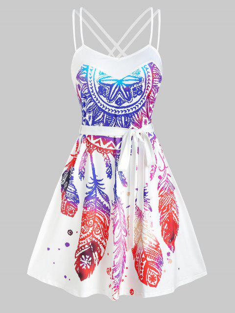 Dream Catcher Bohemian Print Strappy Belted Dress